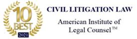 AIOLC 2021 10 Best Civil Litigation Attorney